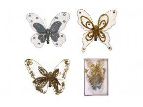 Motýl s klipem sada 3 ks