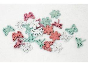 Dřevěné dekorace, motýlek, kytička, a vážka, barva bílá, růžová, zelená ,cena za 24 kusů v sáčku