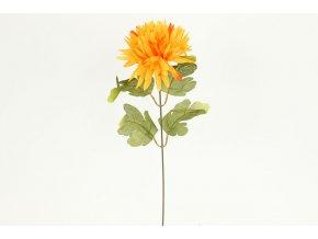 Chryzantéma 1-hlavá, žluto-oranžová Květina umělá.