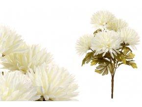 Chryzantémy puget, 5 hlav, barva krémová. Květina umělá.
