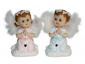 Andělíček polyresinový, svíticí křídla - led světlo, asst. 2 druhů.