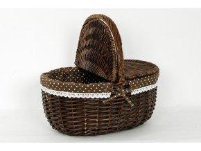 Košík proutěný s látkou, dekorační