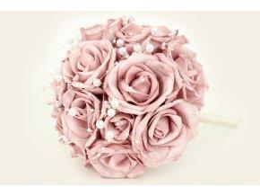 Puget z pěnových růžiček s korálky do ruky , barva lila, umělá dekorace