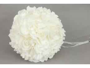 Koule z pěnových růžiček na zavěšení, barva bílá, umělá dekorace