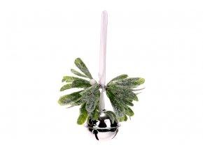 Rolnička s vánoční větvičkou, ojíněná umělá dekorace