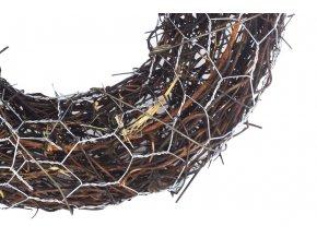 Věnec, dekorace z révového proutí s kovem