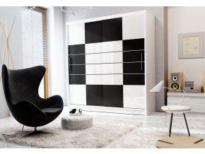 Šatní skříň ARUBA 203 bílá/černá