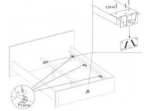 Ložnice BODO sonoma/bílá (skříň 2D2S, postel 180, 2ks n. stolek)