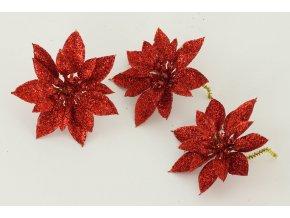 Květina červená dekorační. Cena za 3kusy/1 polybag.