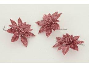 Květina růžová dekorační Cena za 3kusy/1 polybag.