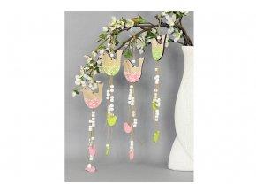 Ptáček, 2 kusy v sáčku, dřevěná dekorace na zavěšení , cena za 1 sáček