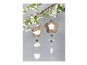 Ptáček nebo srdíčko, dřevěná dekorace na zavěšení v sáčku, cena za 1 kus