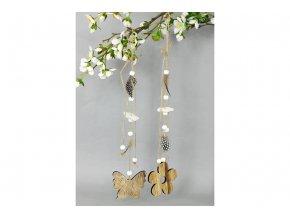 Kytička nebo motýlek,dřevěná dekorace s peřím na zavěšení, 2 kusy v sáčku, cena za 1 sáček