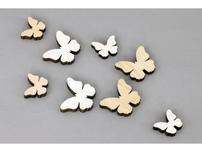 Motýlek dřevěná dekorace, 8 kusů v sáčku, barva bílá a přírodní, cena za 1 sáček