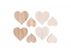Srdíčko, dřevěná dekorace, 8 kusů v sáčku, barva bílá a přírodní, cena za 1 sáček