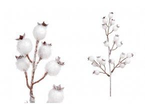Větvička s bobulemi, umělá dekorace , barva bílá, ojíněná
