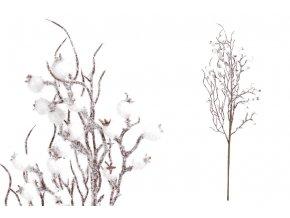 Větvička s bobulemi, umělá dekorace,  barva bílá, ojíněná