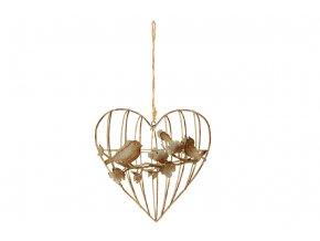 Srdce, dekorace z kovových drátků, na zavěšení