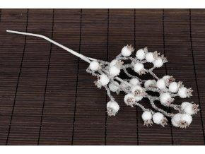 Větvička, bílé jeřabiny ojíněné,  umělá dekorace
