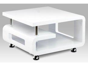 Konferenční stolek 70x70x43, bílá MDF vysoký lesk, chrom, 4 kolečka