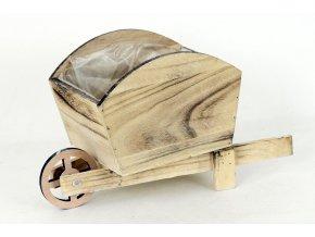 Truhlík dřevěný s igel.vložkou, tvar vozíku, barva bílá antik