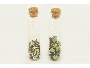 Dřevěné dekorace v lahvičce, mix dvou duhů, cena za 1 lahvičku