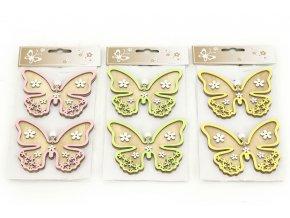 Motýl, 2 kusy v sáčku, dřevěná dekorace na pověšení , cena za 1 sáček, mix 3 barev