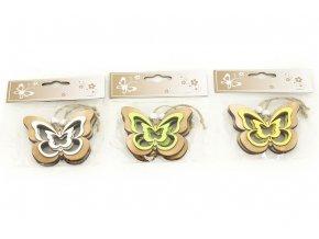 Motýl, 2 kusy v sáčku, dřevěná dekorace na pověšení , cena za 1 sáček , mix 3 barev