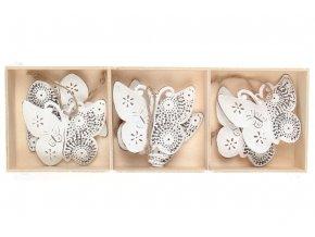 Motýl,  6 kusů v dřevěné krabičce, dekorace z kovu, cena za 1  krabičku