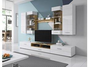 Obývací stěna s LED osvětlením Thierry TH1 bílá/dub ender/bílý lesk