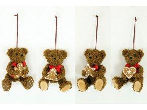 Medvídek, vánoční textilní dekorace.