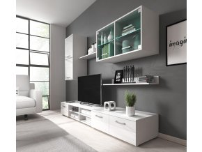 Obývací stěna Margarita bílý lesk/LED