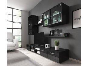 Obývací stěna Margarita černý lesk/LED