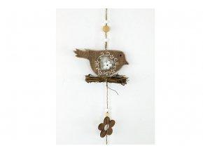 Ptáček, dřevěná dekorace na zavěšení