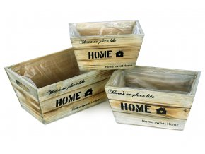 Truhlík dřevěný,vč.igelitové vložky, sada 3 kusy