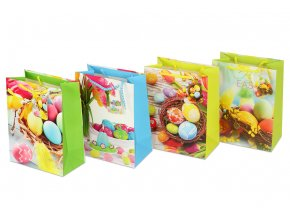 Taška dárková papírová, mix 4 dekorů velikonoční