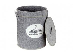 Koš prádelní z plsti s víkem, barva světle šedá, v papírové krabičce