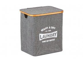 Koš prádelní s víkem, z textilu se dřevem, barva šedá