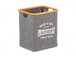 Koš prádelní z textilu se dřevem, barva šedá