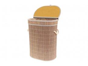 Koš prádelní z bambusu, ovál , barva šedobílá