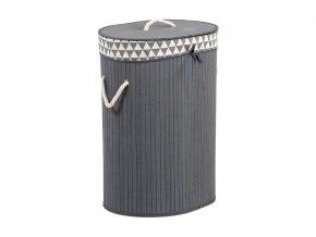 Koš prádelní z bambusu, ovál, barva šedá, v papírové krabičce
