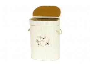 Koš prádelní z bambusu, ovál, barva bílá s logem, v papírové krabičce