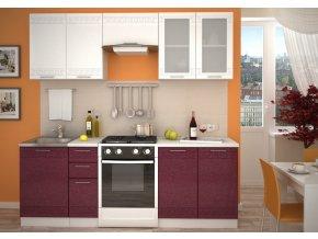 Kuchyně GREECE 220 bílá/granátový metalic