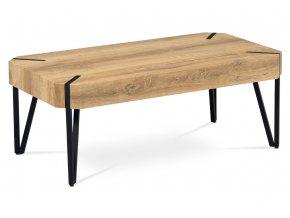Konferenční stolek 110x60x43, MDF bělený dub, kov černý mat
