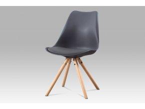 Jídelní židle, šedá plast + ekokůže, masiv buk, CT-233 GREY