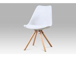 Jídelní židle, bílá plast + ekokůže, masiv buk, CT-233 WT