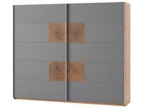 Šatní skříň 2-dveřová LIVORNO 72 dub wotan/šedá