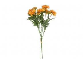 Jiřina, puget, barva oranžová. Květina umělá.