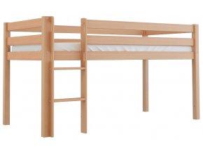 Vyvýšená dřevěná postel Scarlett TOM - přírodní (buk) - 200 x 90 cm