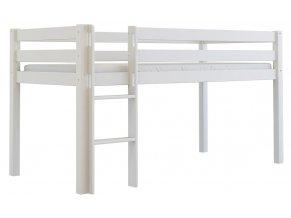 Vyvýšená dřevěná postel Scarlett TOM - bílá (buk) - 200 x 90 cm